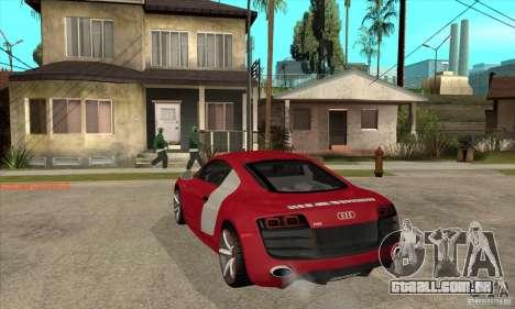 Audi R8 V10 para GTA San Andreas traseira esquerda vista