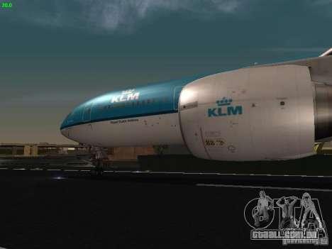 Boeing 777-200 KLM Royal Dutch Airlines para GTA San Andreas vista interior
