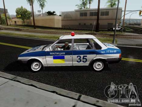 VAZ 21099, polícia para GTA San Andreas traseira esquerda vista