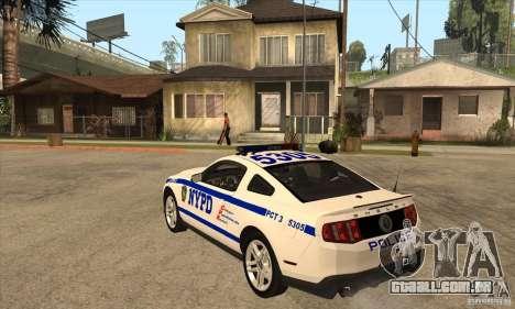 Shelby GT500 2010 Police para GTA San Andreas traseira esquerda vista