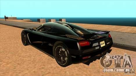 Koenigsegg Agera 2010 para GTA San Andreas traseira esquerda vista
