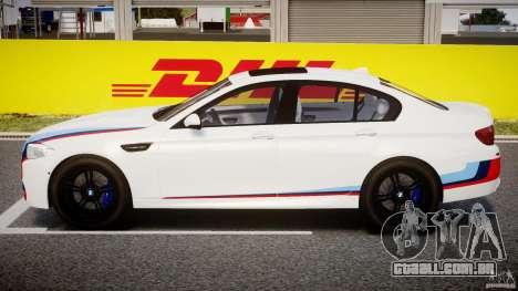 BMW M5 F10 2012 M Stripes para GTA 4 vista lateral