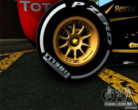 Lotus E20 F1 2012 para GTA San Andreas traseira esquerda vista