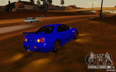 Nissan Skyline R34 GT-R V2 para GTA San Andreas traseira esquerda vista