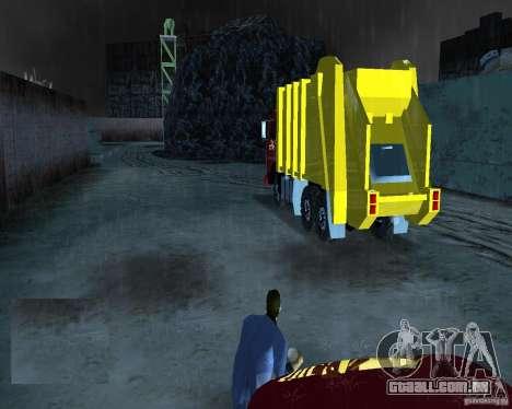 Caminhão de lixo Kamaz para GTA Vice City vista traseira esquerda