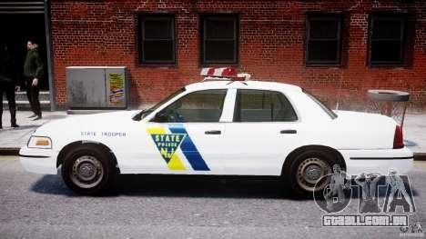 Ford Crown Victoria New Jersey State Police para GTA 4 traseira esquerda vista
