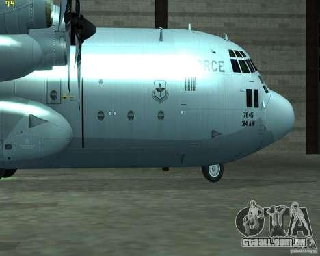 C-130 hercules para GTA San Andreas traseira esquerda vista
