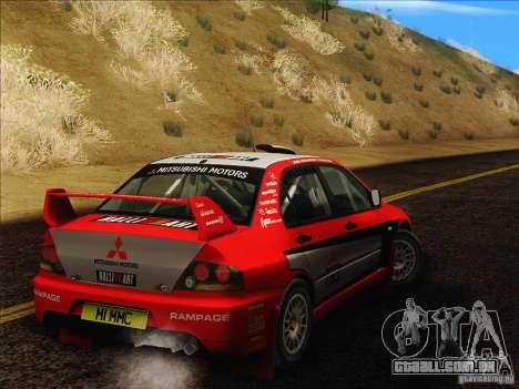 Mitsubishi Lancer Evolution IX Rally para GTA San Andreas vista traseira