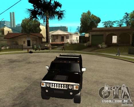 AMG H2 HUMMER SUV FBI para GTA San Andreas vista traseira
