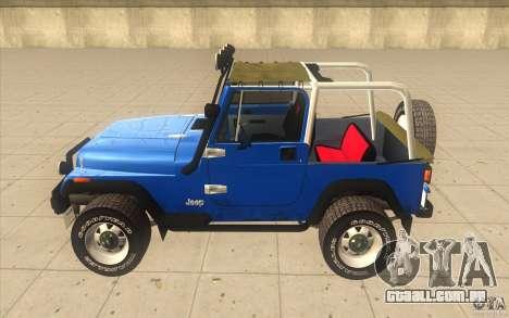 Jeep Wrangler 4.0 Fury 1986 para GTA San Andreas esquerda vista