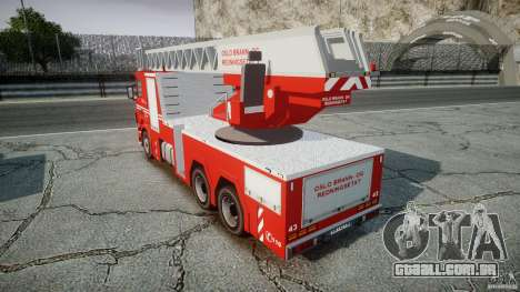 Scania Fire Ladder v1.1 Emerglights blue-red ELS para GTA 4 vista de volta