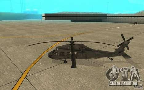 UH-60 Black Hawk para GTA San Andreas traseira esquerda vista