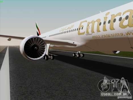 Airbus A350-900 Emirates para GTA San Andreas vista traseira