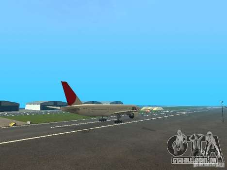 Boeing 777-200 Japan Airlines para GTA San Andreas vista interior