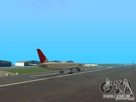 Boeing 777-200 Japan Airlines para GTA San Andreas vista interior