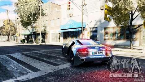 Audi R8 Spider 2011 para GTA 4 traseira esquerda vista