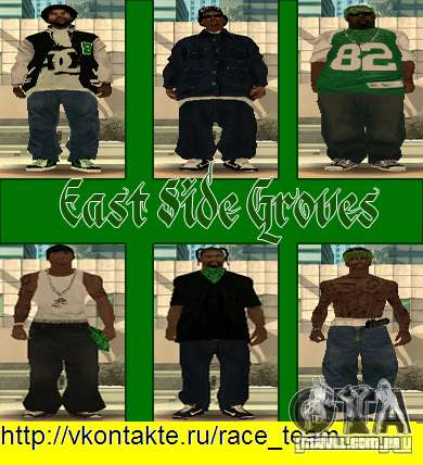 Substituir todos os skins Grove Street famílias para GTA San Andreas oitavo tela