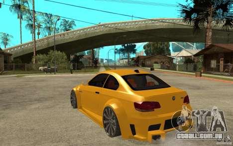 BMW M3 E92 para GTA San Andreas traseira esquerda vista