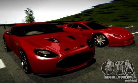 Aston Martin V12 Zagato Final para GTA San Andreas vista direita