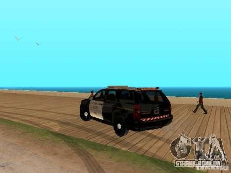 Chevrolet Tahoe Ontario Highway Police para GTA San Andreas traseira esquerda vista