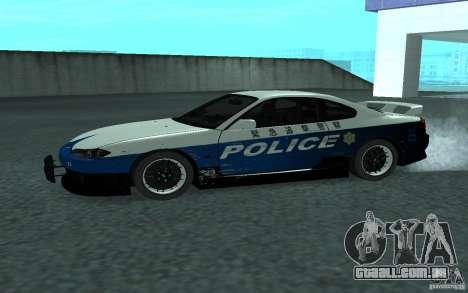 Nissan Silvia S15 Police para GTA San Andreas esquerda vista