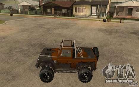 Land Rover Defender Extreme Off-Road para GTA San Andreas esquerda vista