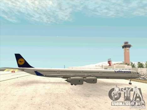 Airbus A-340-600 Lufthansa para GTA San Andreas esquerda vista