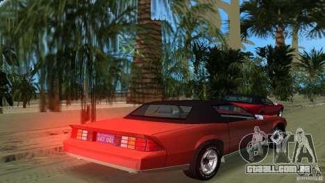Chevrolet Camaro Convertible 1986 para GTA Vice City deixou vista