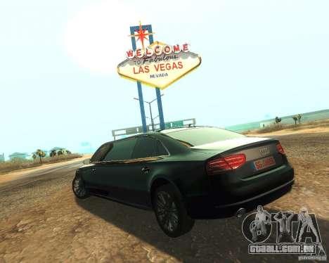 Audi A8 2011 Limo para GTA San Andreas esquerda vista