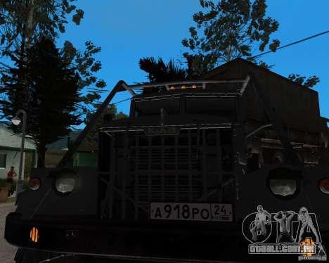 KrAZ 255 + reboque artict2 para GTA San Andreas traseira esquerda vista