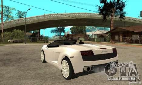 Lamborghini Gallardo Spyder v2 para GTA San Andreas traseira esquerda vista