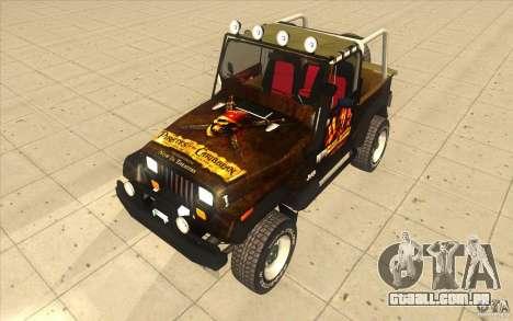 Jeep Wrangler 4.0 Fury 1986 para GTA San Andreas vista direita