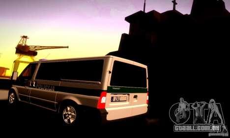 Ford Transit Policija para GTA San Andreas traseira esquerda vista