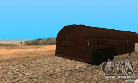 Reboque duelo Peterbilt para GTA San Andreas traseira esquerda vista