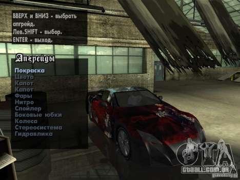 Lexus LFA Custom para GTA San Andreas vista superior