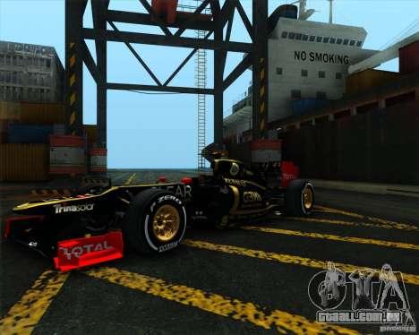 Lotus E20 F1 2012 para GTA San Andreas vista direita