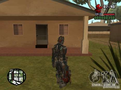 O traje dos jogos Dead Space 2 para GTA San Andreas por diante tela