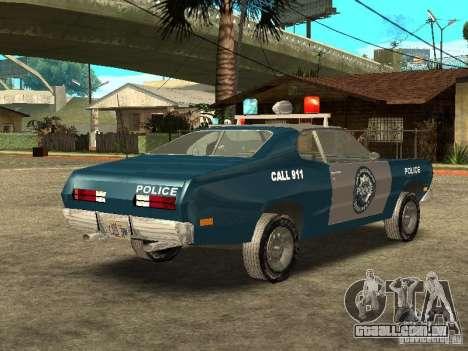 Plymout Duster 340 POLICE v2 para GTA San Andreas vista direita