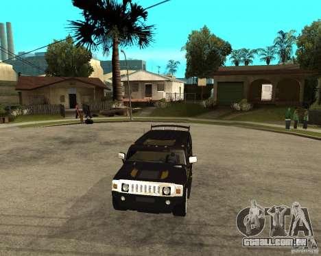 H2 HUMMER DUB LOWRIDE para GTA San Andreas vista traseira