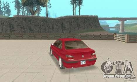 Peugeot 406 stock para GTA San Andreas traseira esquerda vista