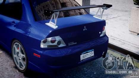 Mitsubishi Lancer Evolution VIII para GTA 4 rodas
