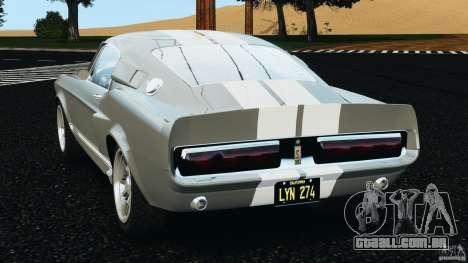 Shelby GT 500 Eleanor v2.0 para GTA 4 traseira esquerda vista