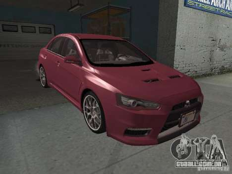 Mitsubishi Evolution X Stock-Tunable para GTA San Andreas vista inferior
