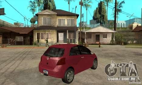 Toyota Yaris para GTA San Andreas vista direita