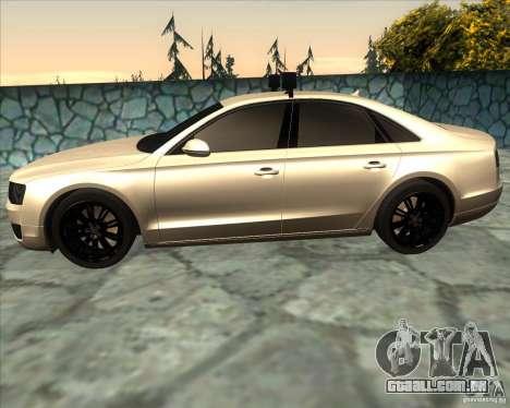 Audi A8 2010 v2.0 para GTA San Andreas esquerda vista
