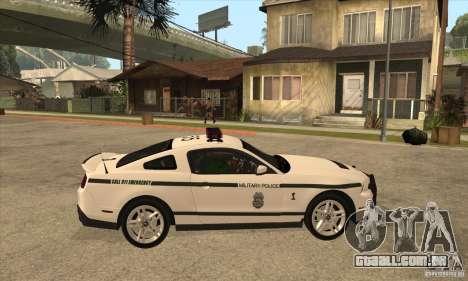 Shelby GT500 2010 Police para GTA San Andreas vista traseira