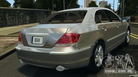 Honda Acura RL para GTA 4 traseira esquerda vista