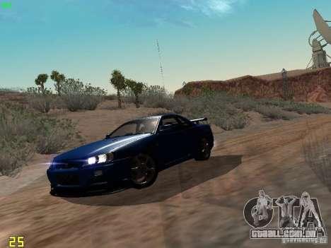 Nissan Skyline GT-R R34 V-Spec para GTA San Andreas esquerda vista
