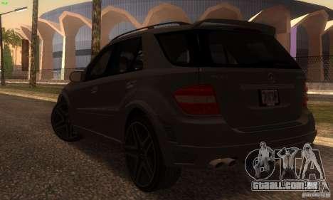 Mercedes-Benz ML63 AMG Brabus para GTA San Andreas traseira esquerda vista