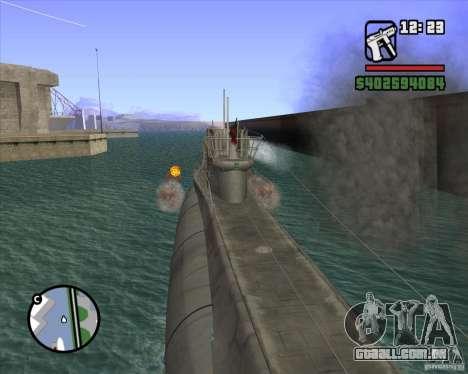 U99 German Submarine para GTA San Andreas oitavo tela